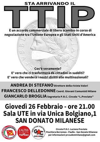 Sta a rrivando TTIP - incontro San Donato