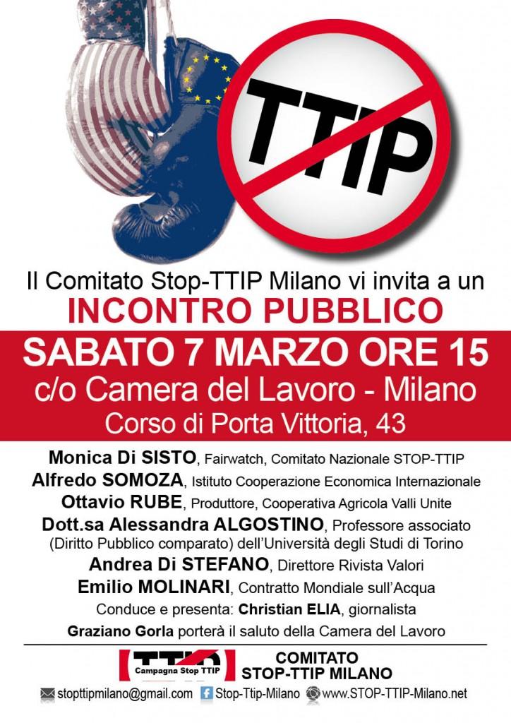 STOP TTIP Milano incontro pubblico Sabato 7 Marzo ore 15 Camera del Lavoro
