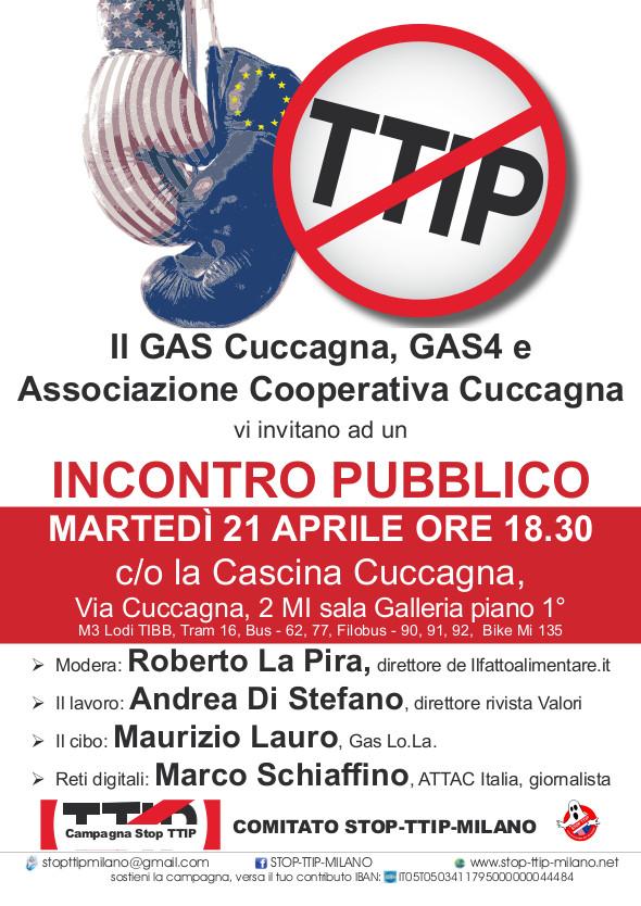 21 Aprile ore 18.30 Via Cuccagna,2 Incontro sul TTIP