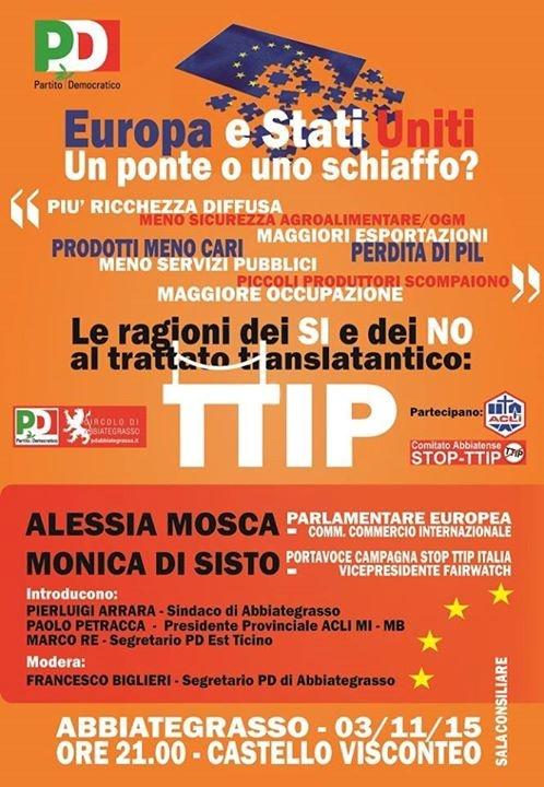 03/11/2015 - ABBIATEGRASSO: TTIP, LE RAGIONI DEI SÌ E DEI NO
