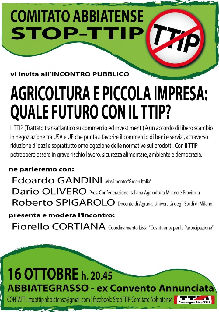 16 ottobre all'Annunciata, Abbiategrasso - Incontro su TTIP e suoi impatti sulle attività produttive