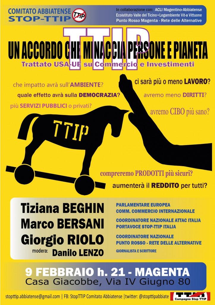 """TTIP: un accordo che minaccia persone e pianeta"""" - 9 febbraio"""